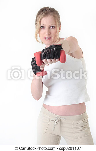 Woman working out with weights - csp0201107