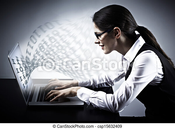 Woman working with laptop. - csp15632409
