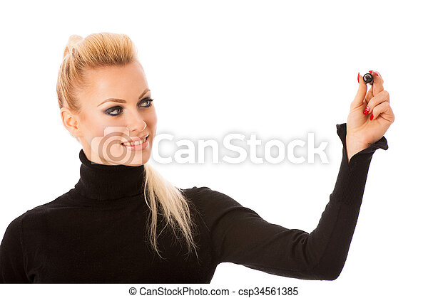 Woman writing encouraging success message with marker on transparent surface. - csp34561385