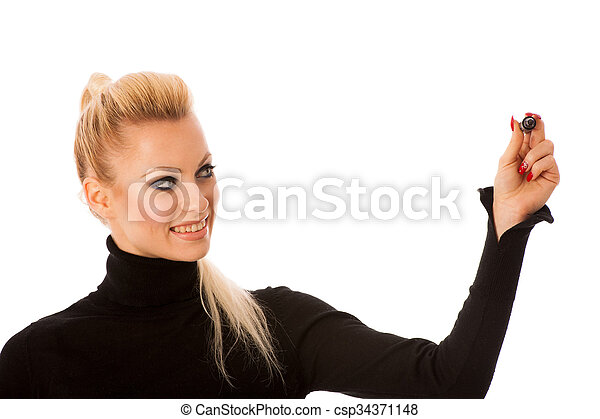 Woman writing encouraging success message with marker on transparent surface. - csp34371148