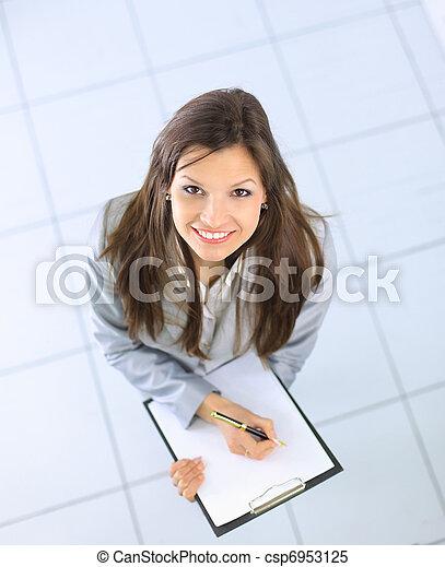 Woman writing - csp6953125
