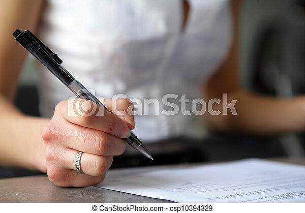 Woman writing - csp10394329