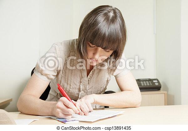 Woman writing - csp13891435
