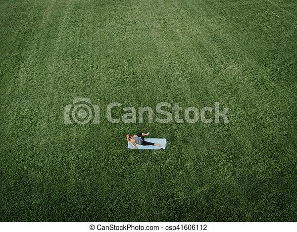 Woman Yoga Aerial - csp41606112