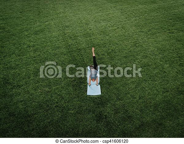 Woman Yoga Aerial - csp41606120