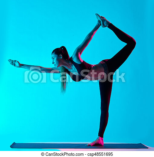 woman yoga exercices natarajasana dancer pose one