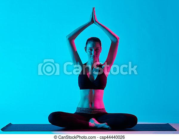 woman yoga exercices padmasana lotus position one