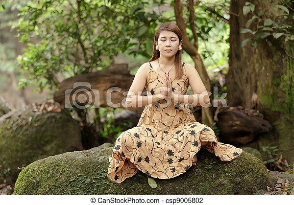 woman yoga in nature - csp9005802