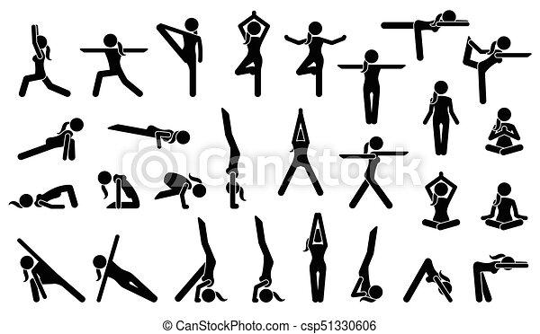 Woman yoga postures. Stick figure pictogram depicts various yoga ...