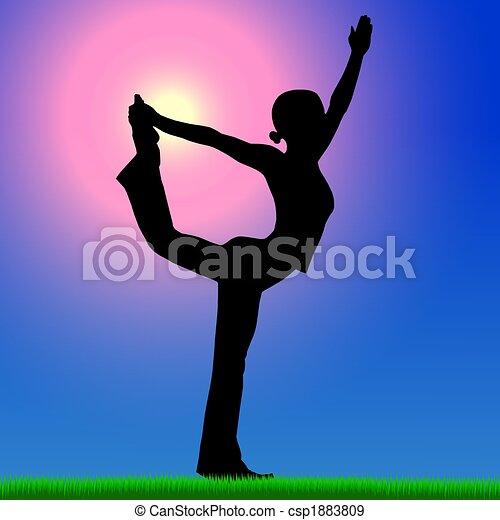 woman yoga practice background - csp1883809