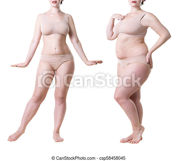 Woman S Body Before And After Weight Loss Isolated On White