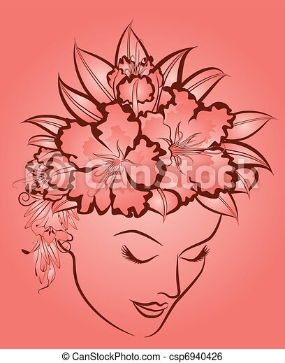 woman's face with flowers. - csp6940426