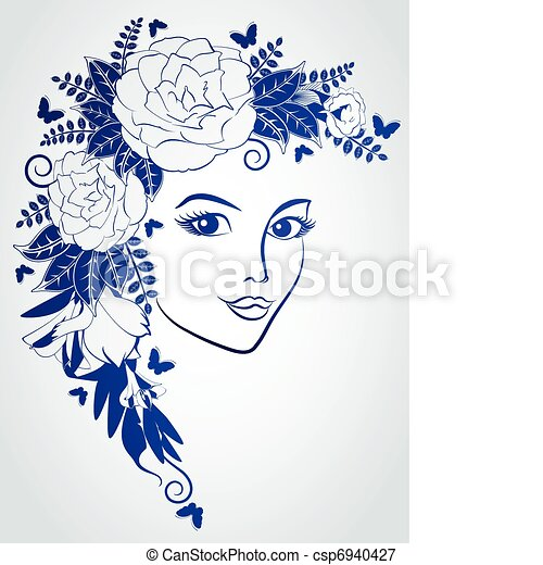 woman's face with flowers. - csp6940427