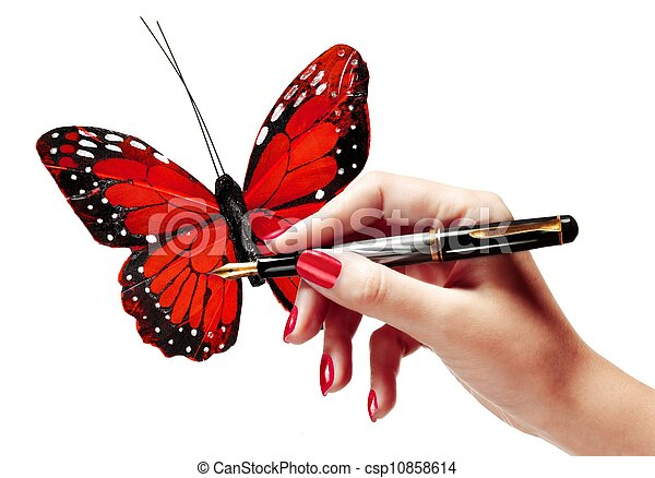 woman s hand drawing a butterfly woman s hand holding a pen and