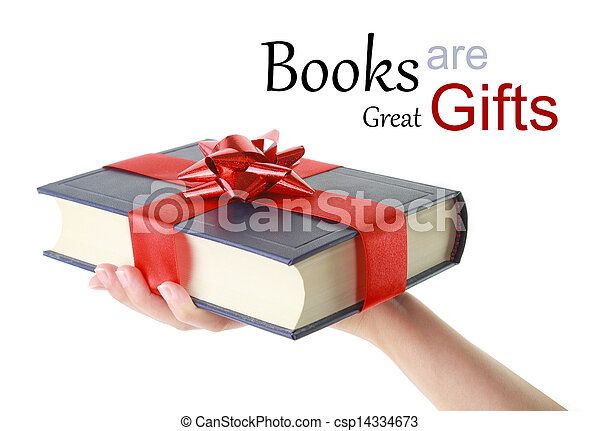 Woman's hand holding a book for gift - csp14334673