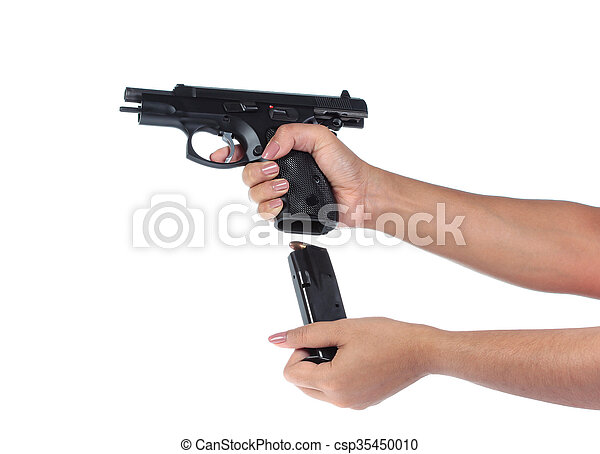 Woman's hand with a gun on a white background. - csp35450010