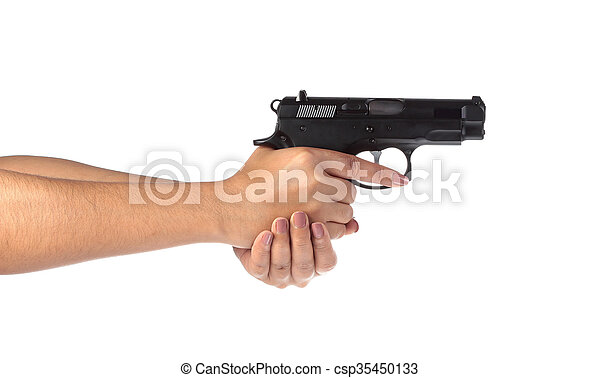 Woman's hand with a gun on a white background. - csp35450133