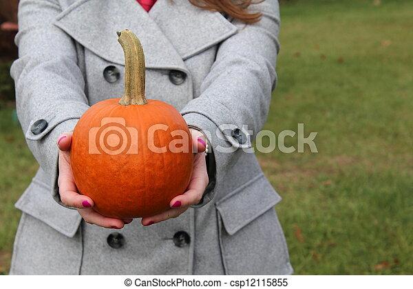Woman's hands offering pumpkin - csp12115855