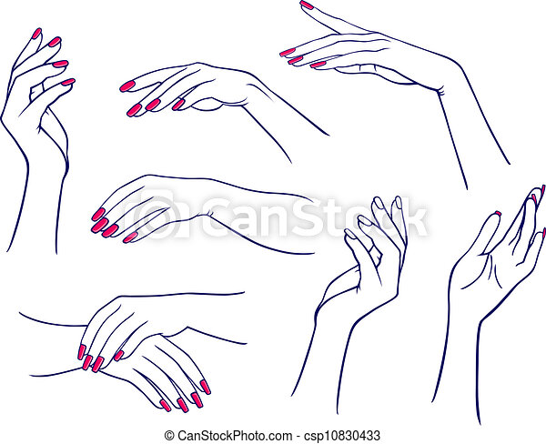 woman s hands set woman s hand isolated on white background