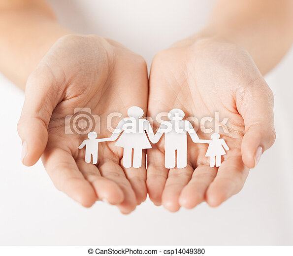 woman's hands with paper man family - csp14049380