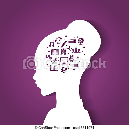 Woman's head with education icons - csp15611974
