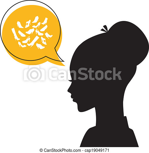 Woman's head with shoes icons - csp19049171
