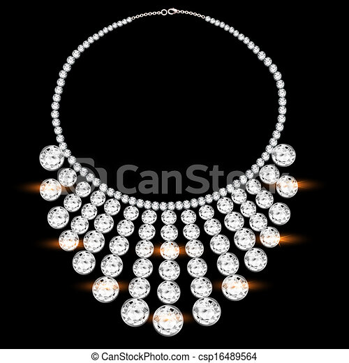 Illustration Of A Woman S Necklace With Precious Stones On