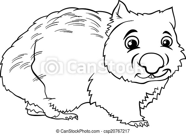 wombat animal cartoon coloring book black and white