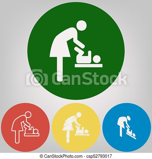 Women And Baby Symbol Baby Changing Vector 4 White Styles