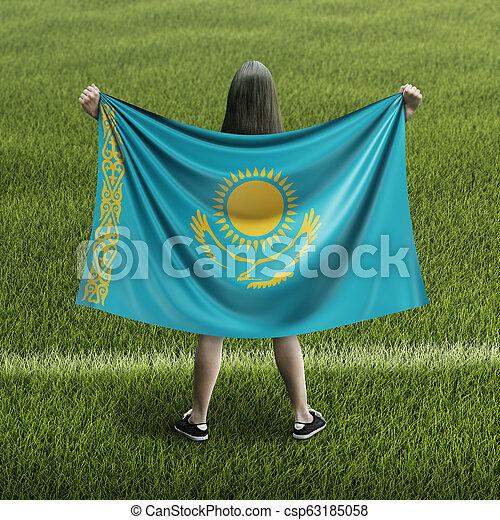 Women and Kazakh flag - csp63185058