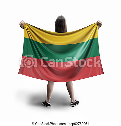 Women and Lithuanian flag - csp62762961