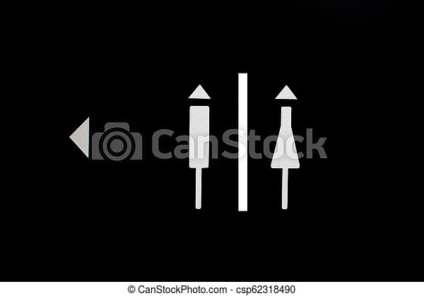 Women and Men Toilet Sign on black background - csp62318490