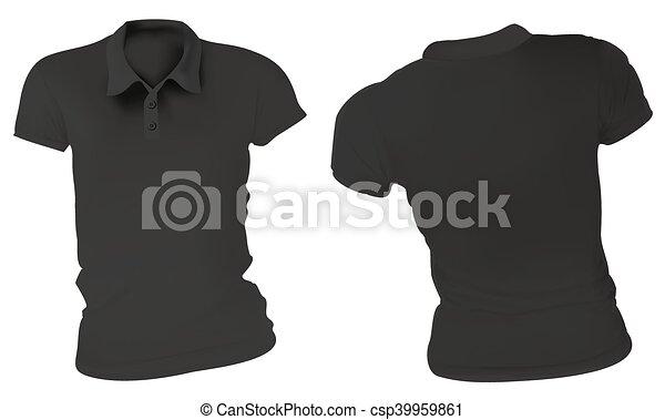 Women black polo shirts template. Vector illustration of blank black ...