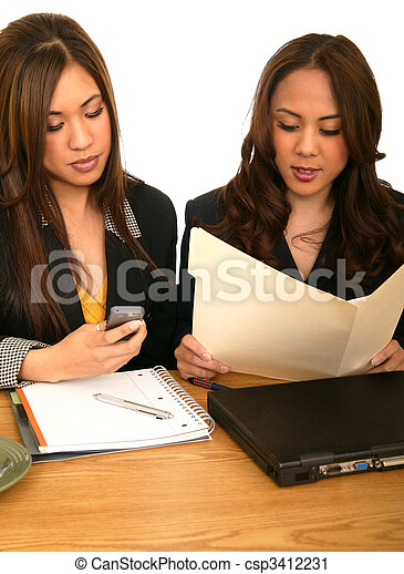 Women Business Team During Busy Hour - csp3412231