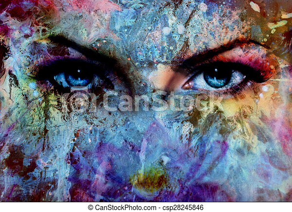 Line Art Effect Photo : Women eyes and painting color effect make up eye drawing