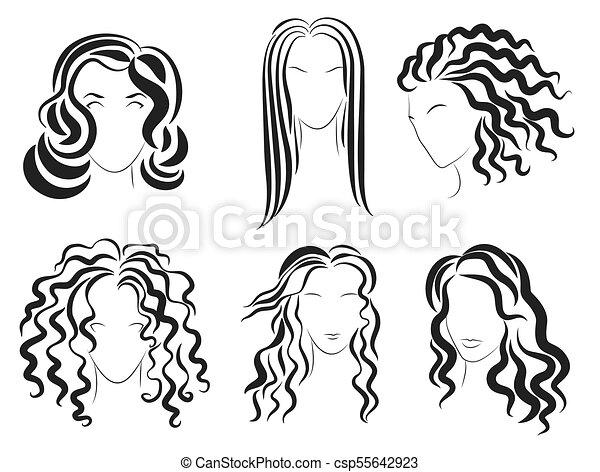 Women Face Hair Style Silhouette Logo Vector Illustration Women
