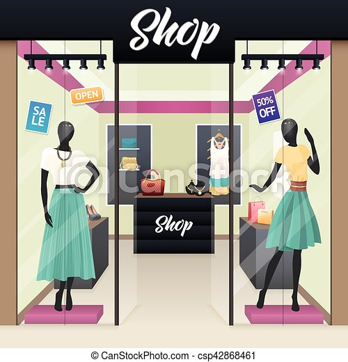 Women Fashion Shop Sale Window display - csp42868461
