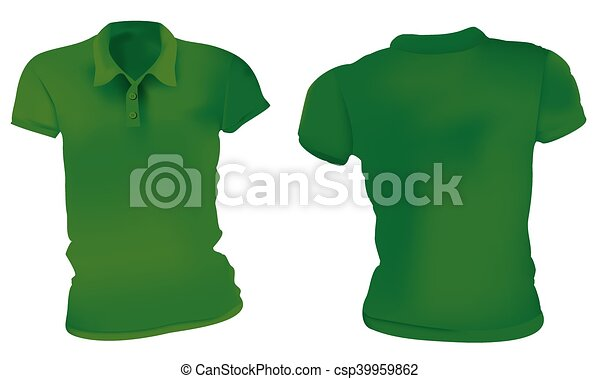 Women green polo shirts template. Vector illustration of blank green ...