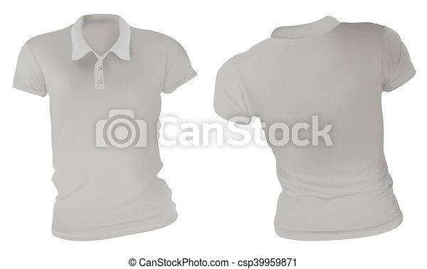 Women Grey Polo Shirts Template Vector Illustration Of Blank Grey