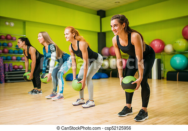 women group with balls fitness workout female sport