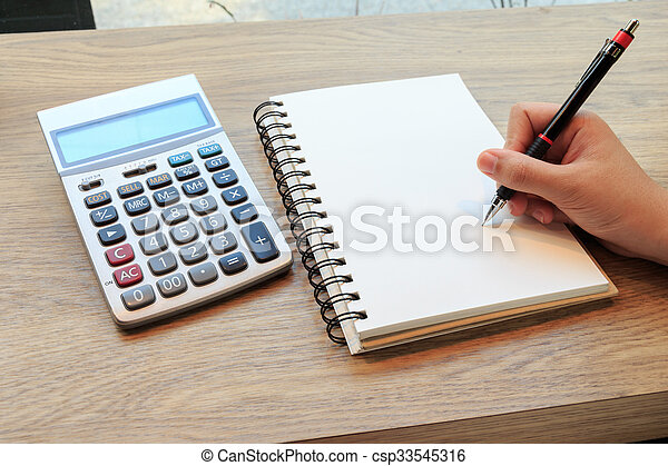 Women hands writing with pencil, notebook and Calculator - csp33545316