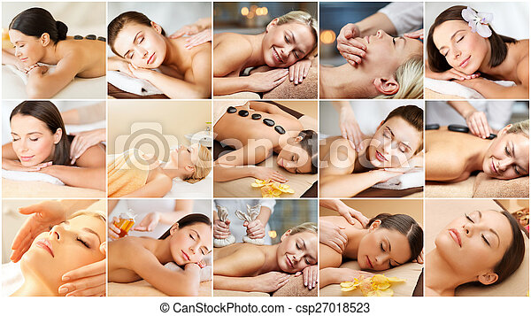women having facial or body massage in spa salon - csp27018523