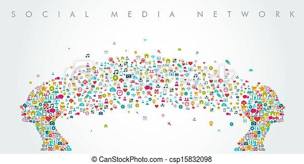 Women heads shape social media network composition. EPS10 file. - csp15832098