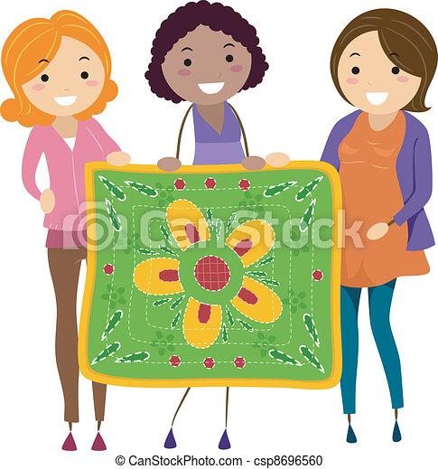 Women Holding a Quilt - csp8696560