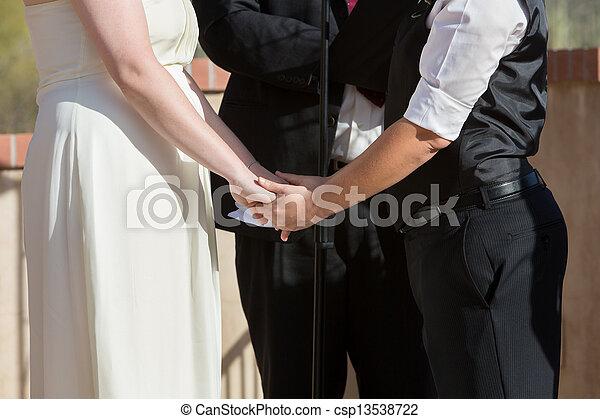 Women Holding Hands in Wedding Ceremony - csp13538722