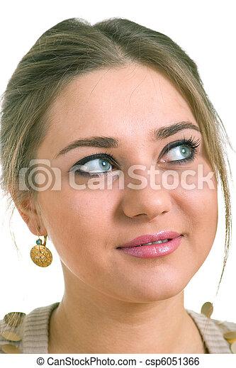 women in a golden earrings - csp6051366