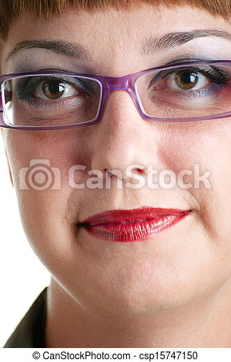 women in a pink glasses - csp15747150