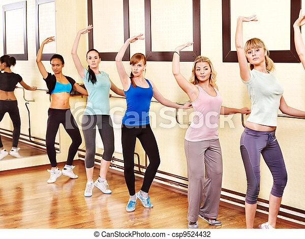 women in aerobics class women group in aerobics class
