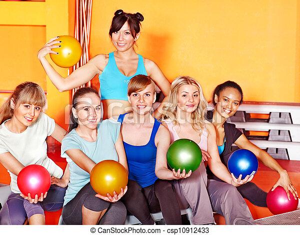 Women in aerobics class. - csp10912433