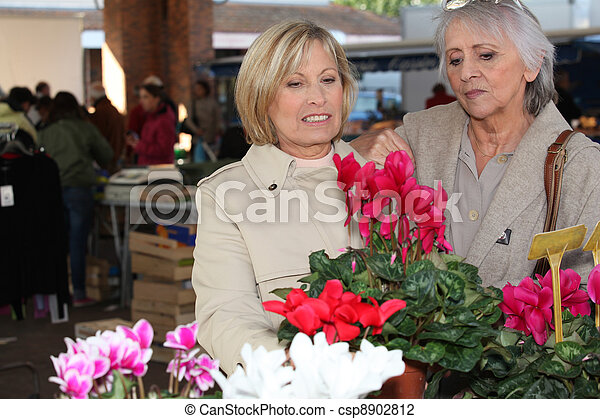 Women looking at plants in a market - csp8902812